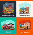city buildings concept icons set vector image vector image
