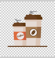 coffee cup with coffee beans on isolated vector image vector image