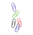 colored paper clip kit isolated on white vector image