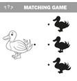 find correct shadow the cute cartoon duck vector image vector image