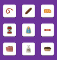 flat icon food set of bratwurst sack ketchup and vector image