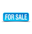 for sale blue 3d realistic square isolated button vector image vector image