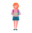girl student in green skirt with pile books vector image vector image