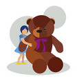girl with teddy bear toy flat vector image