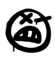 graffiti angry emoji sprayed in black on white vector image vector image