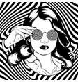 hand drawn pretty girl in sunglasses surreal vector image
