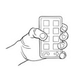 hand holding smart phone black and white vector image vector image