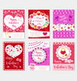 happy valentine s day set poster invitation vector image