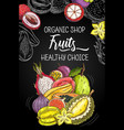 healthy organic exotic tropical fruits shop poster vector image vector image