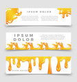 honey drops and splashes horizontal banners vector image