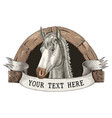 horse farm logo hand draw vintage engraving style vector image