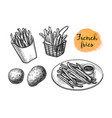 ink sketch french fries vector image