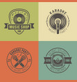 music shop recording studio karaoke emblems vector image