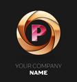pink letter p logo symbol in golden circle shape vector image