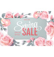 pink soft floral background with frame and spring vector image vector image