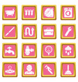 plumber symbols icons set pink square vector image vector image