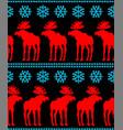 reindeer and snowflakes pixel art seamless vector image vector image