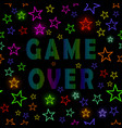 retro game over neon sign on starry background vector image vector image