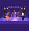 rock band performing on stage drummer trumpeter vector image vector image