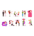 romantic couples young men and women dating vector image vector image