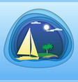 sailing yacht at sea with palm trees on island vector image vector image