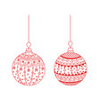 set of red hand drawn christmas tree ball toy vector image vector image