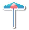 sticker template with summer beach umbrella vector image