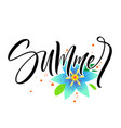 summer lettering with flowers vector image vector image