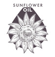 sunflower oil plant and text monochrome sketch vector image