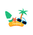 surfing summer vacation vector image vector image