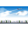 Three jets flying in the sky vector image vector image