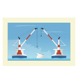 Two floating cranes and sunken vessel Salvage vector image vector image