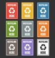 waste sorting labels set management vector image vector image
