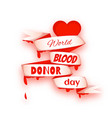 world blood donor day concept with red heart vector image vector image