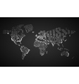 World Map in Typography with City Lights vector image