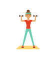 sportive young woman character exercising with vector image