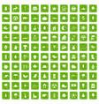 100 leaf icons set grunge green vector image vector image
