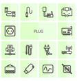 14 plug icons vector image vector image