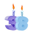 38 years birthday number with festive candle for vector image vector image