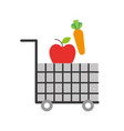 cart shopping food supermarket vegetable and fruit vector image vector image