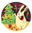 Cartoon bunny decorates Christmas tree vector image