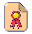certificate icon cartoon style vector image