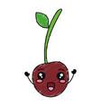 cherry fresh fruit kawaii character vector image