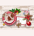christmas card with letter to santa and coffee vector image