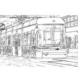 city view urban life with tram hand drawn sketch vector image