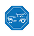classic car inside road sign icon block line vector image