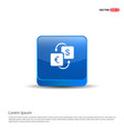 currency converter icon - 3d blue button vector image vector image