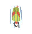 cute bird in cage funny birdie cartoon character vector image vector image