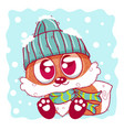 cute cartoon fox on winter can be used for vector image