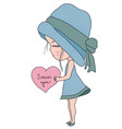 cute cartoon little girl in blue hat and dress vector image